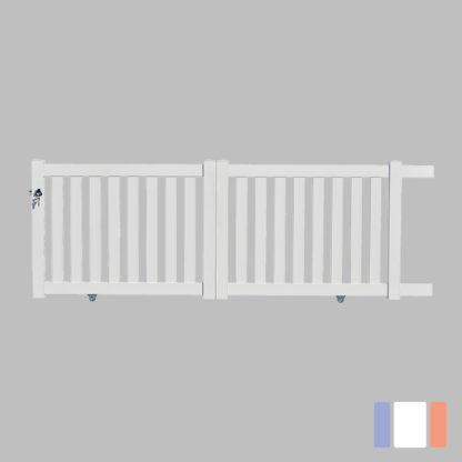 Portail en kit | Modèle ajouré | Coulissant | Blanc