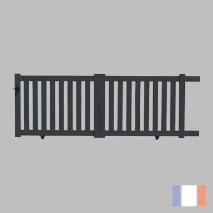 Portail en kit | Modèle ajouré | Coulissant | Gris