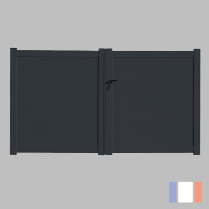 Portail en kit | Modèle plein | Battant | Gris