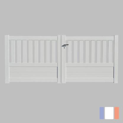 Portail en kit | Modèle semi-ajouré | Battant | Blanc