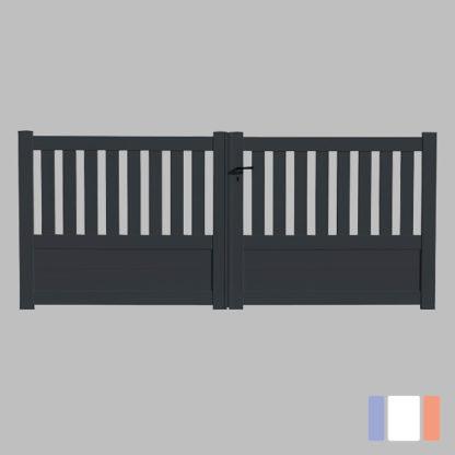 Portail en kit | Modèle semi-ajouré | Battant | Gris